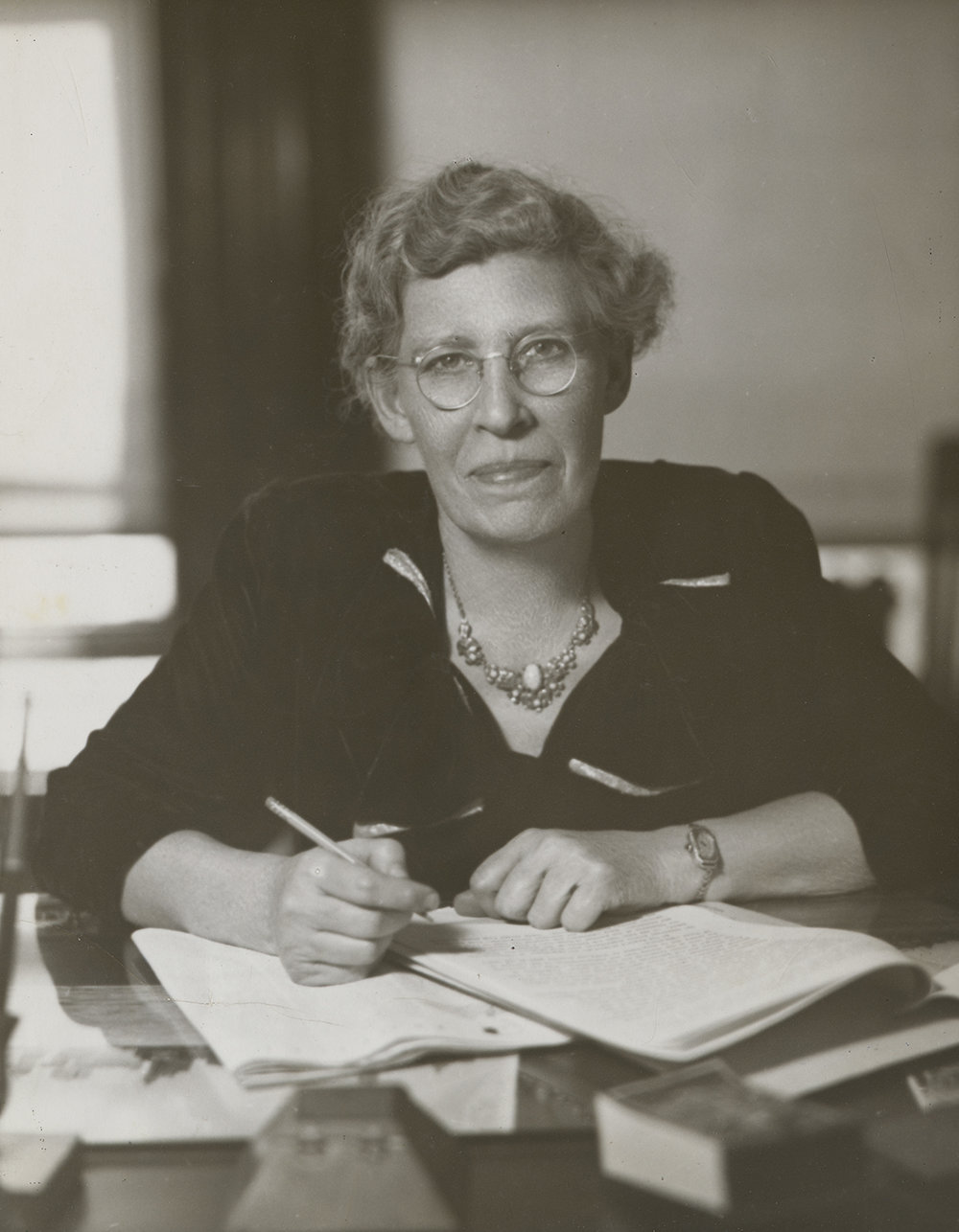 Rebecca Rankin at her desk, ca. 1939. NYC Municipal Archives Collection.