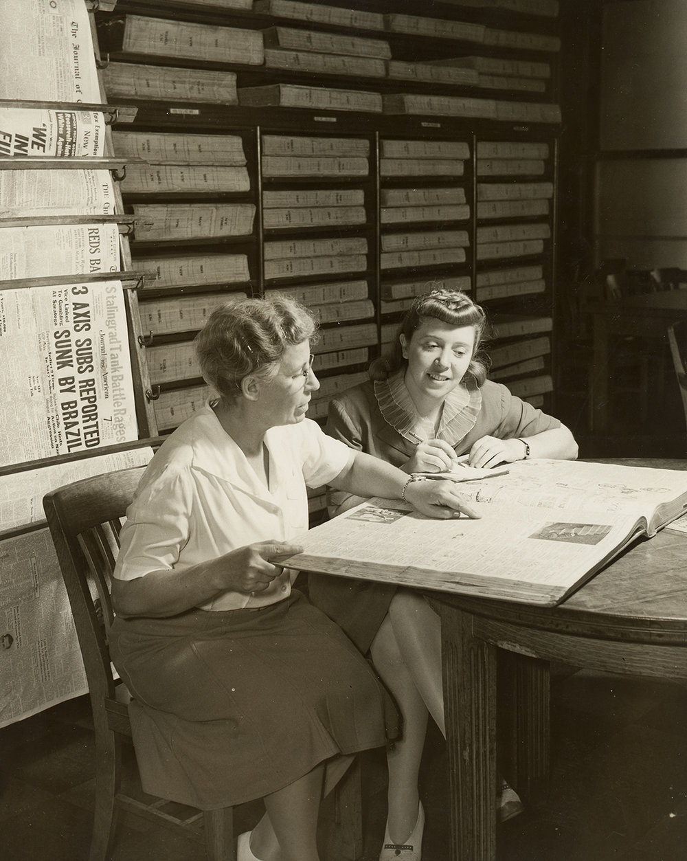 Rebecca Rankin, Librarian, Municipal Reference Library (Left) with Lillian Slaughter, Latin American Scholarship winner from Chile, September 29, 1942. Mayor LaGuardia Collection, NYC Municipal Archives.