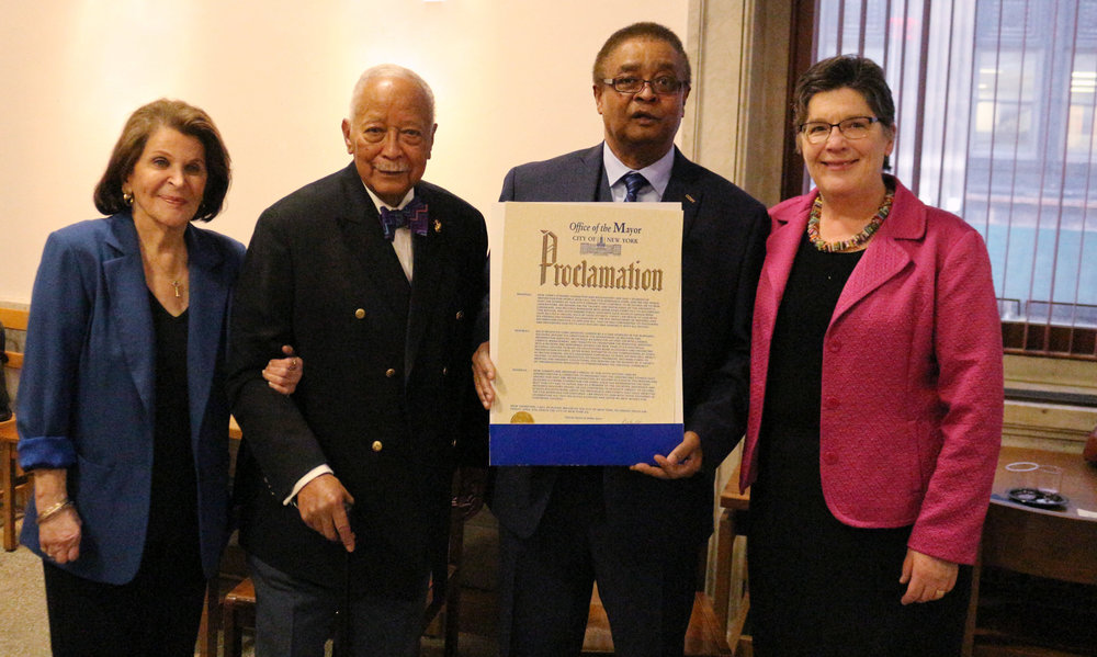 Ann Phillips, Mayor David N. Dinkins,Idilio Gracia Peña, and Commissioner Pauline Toole, April 5, 2018.
