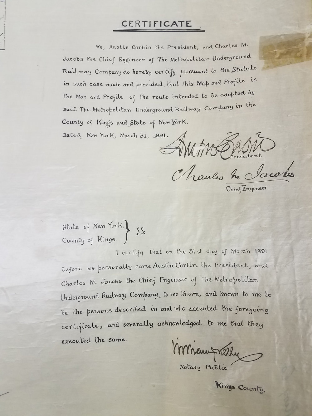 Signed statements from Austin Corbin, President, and Charles M. Jacobs, Chief Engineer of the Metropolitan Underground Railway Company, 1891. City Register collection, NYC Municipal Archives.