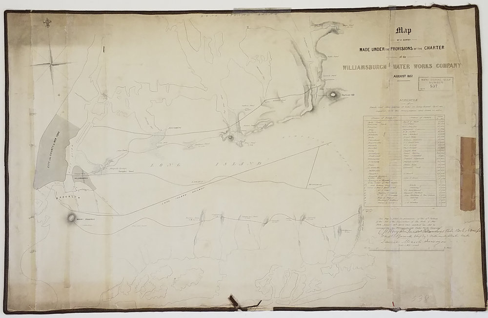Map of a Survey Made Under the Provisions of the Charter of the Williamsburgh Water Works Company, 1852. City Register collection, NYC Municipal Archives.