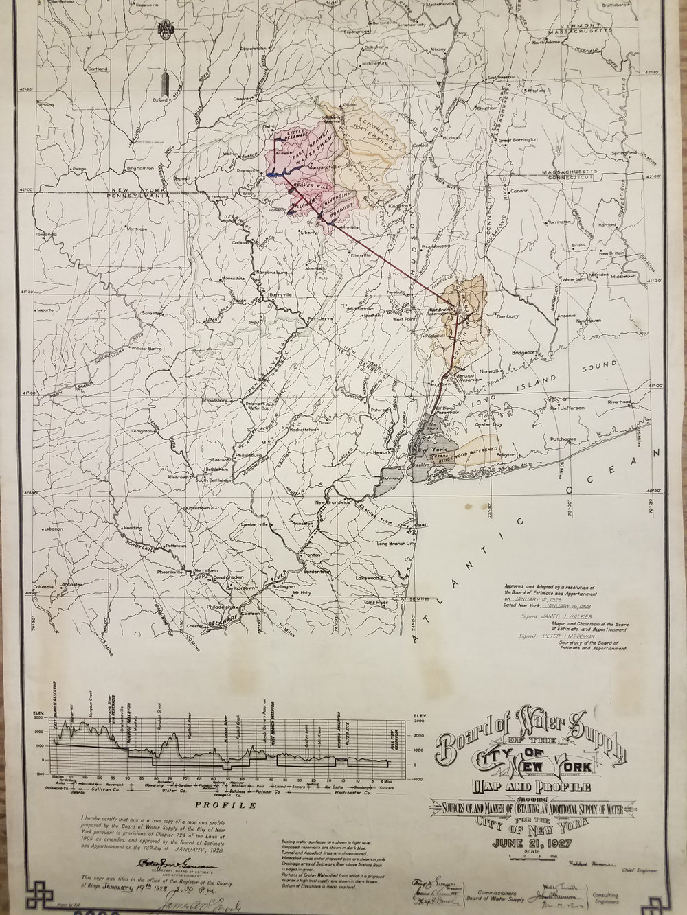 Map and Profile Showing Source of and Manner of Obtaining an Additional Supply of Water for the City of New York, 1905. Board of Estimate and Apportionment collection, NYC Municipal Archives.