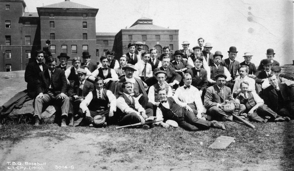 Topographical Bureau of Queens baseball team, Long Island City, 1910. Borough President Queens Collection, NYC Municipal Archives.