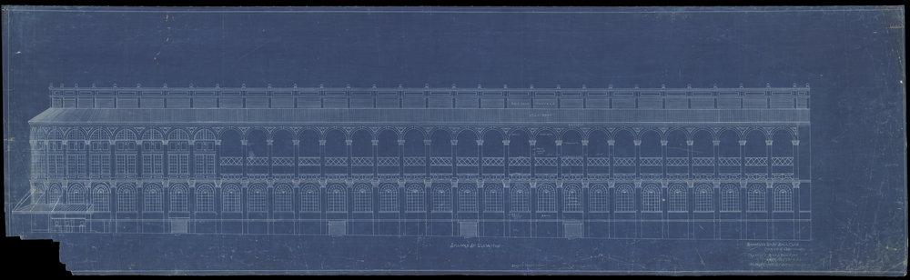 Sullivan Street Elevation, Brooklyn Base Ball Club [Ebbets Field],Clarence R.Van Buskirk, 1912.