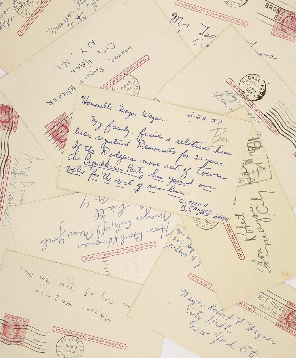 Letters to Mayor Wagner urging him to save the Brooklyn Dodgers, 1957. Mayor Wagner Collection, NYC Municipal Archives.