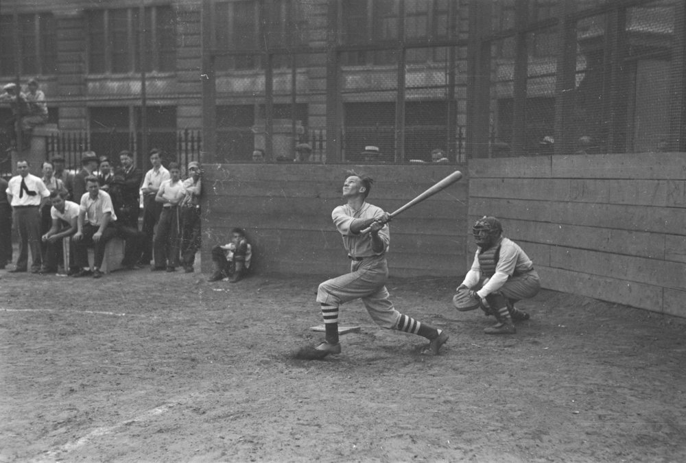 Baseball game, ca. 1939. Clifford Sutcliffe, WPA Federal Writers' Project Collection, NYC Municipal Archives.