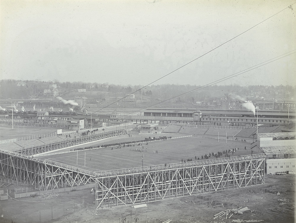 A football game underway at the first Polo Grounds, Harlem Flats, 157th Street and 8th Avenue, ca. 1880s. DeGregario Collection, NYC Municipal Archives.