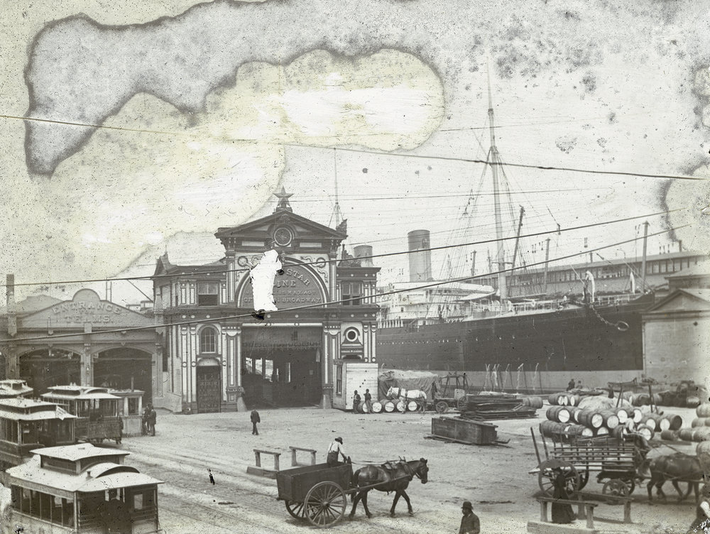 "deg_21: Pier 44, White Star Line, Christopher Street ""Entrance for Teams,"" ca. 1880. Photo by W.T. Colbron, DeGregario Collection, NYC Municipal Archives."