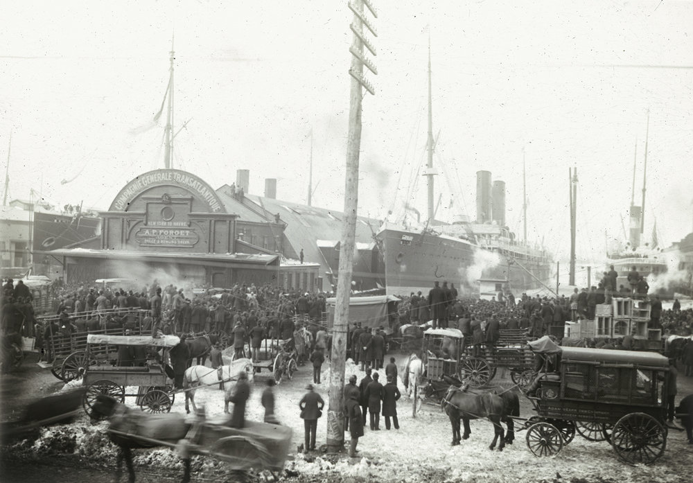 deg_22: Pier 42, French Line at Horatio and Jane Streets, c. 1880. DeGregario Collection, NYC Municipal Archives.