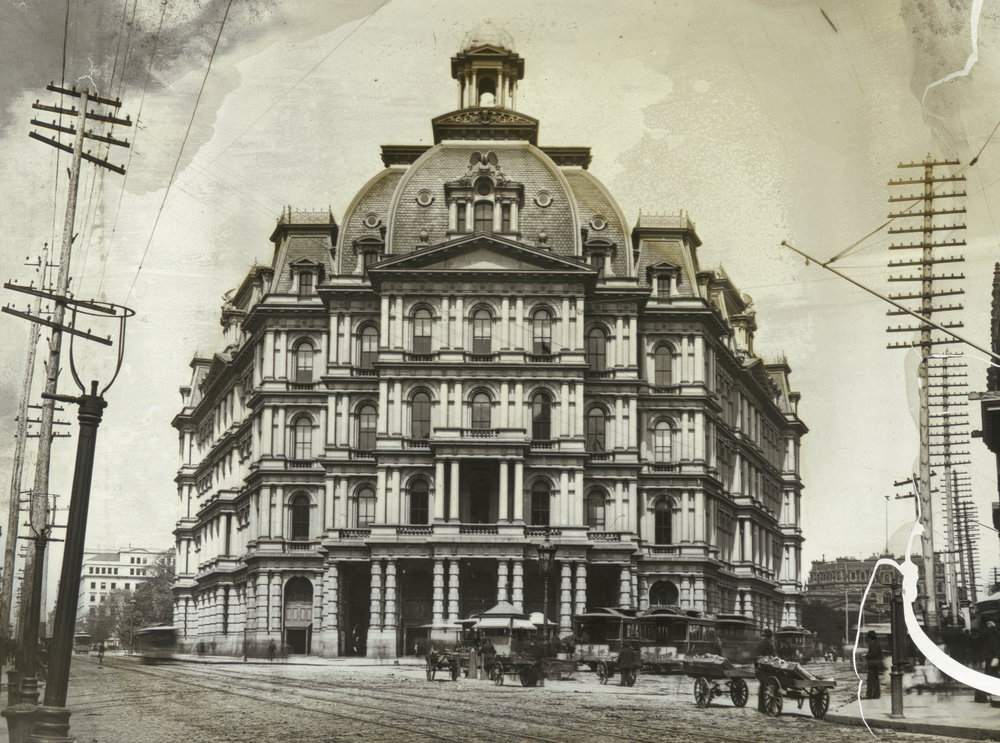 deg_42: Yorkville and Harlem stages in front of City Hall Post Office, Broadway and Park Row, ca. 1880.  Photo by A. Simpson, DeGregario Collection, NYC Municipal Archives.