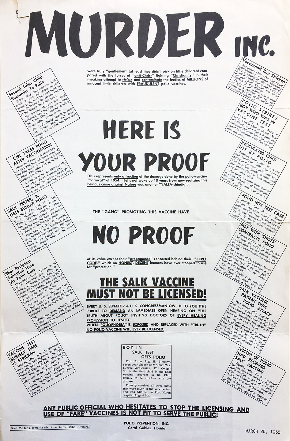 One of many mailings sent to the Department of Health by citizens skeptical of the safety of the new vaccine. Department of Health Collection, NYC Municipal Archives.