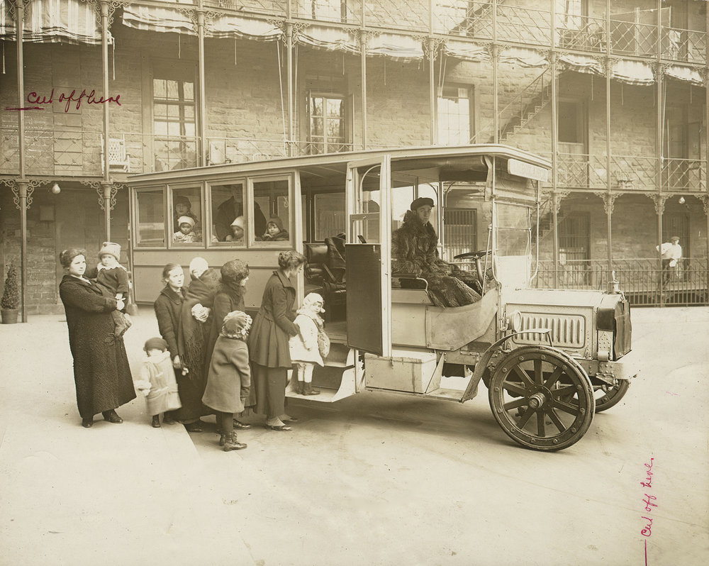 "Mothers and small ""Polio Children"" board bus, Bellevue Hospital, ca. 1916. Department of Public Charities Collection, NYC Municipal Archives."