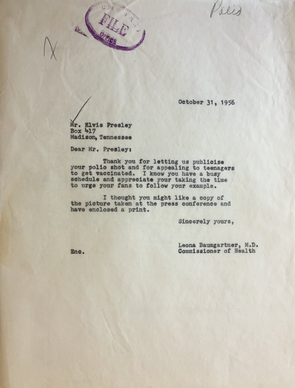 Letter from Dr. Leona Baumgartner, Commissioner of Health, to Elvis Presley, 1956. Department of Health Collection, NYC Municipal Archives.
