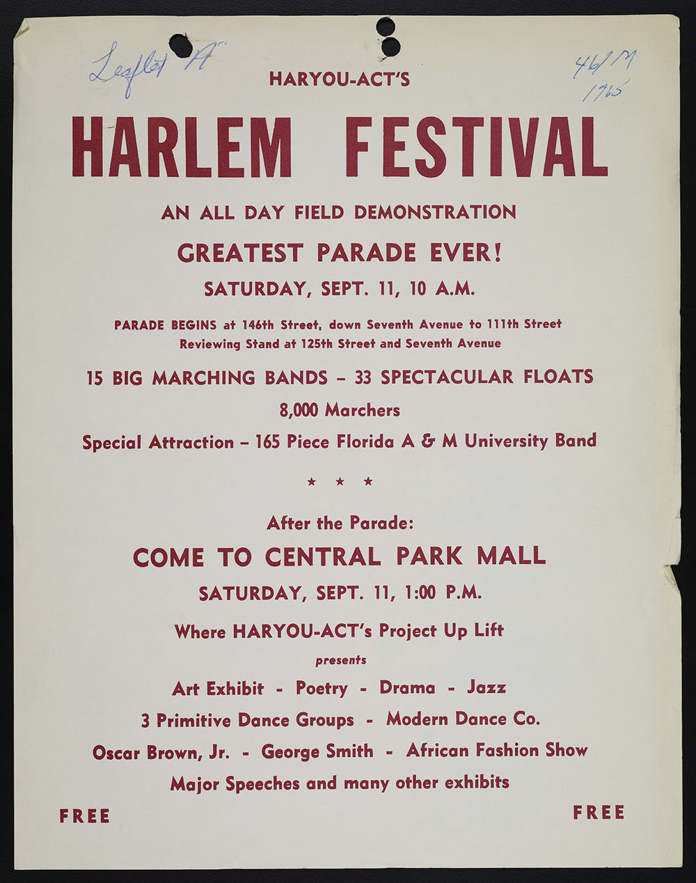 Flyer for festival and parade organized by HARYOU-ACT. NYPD Intelligence Division Records, NYC Municipal Archives.