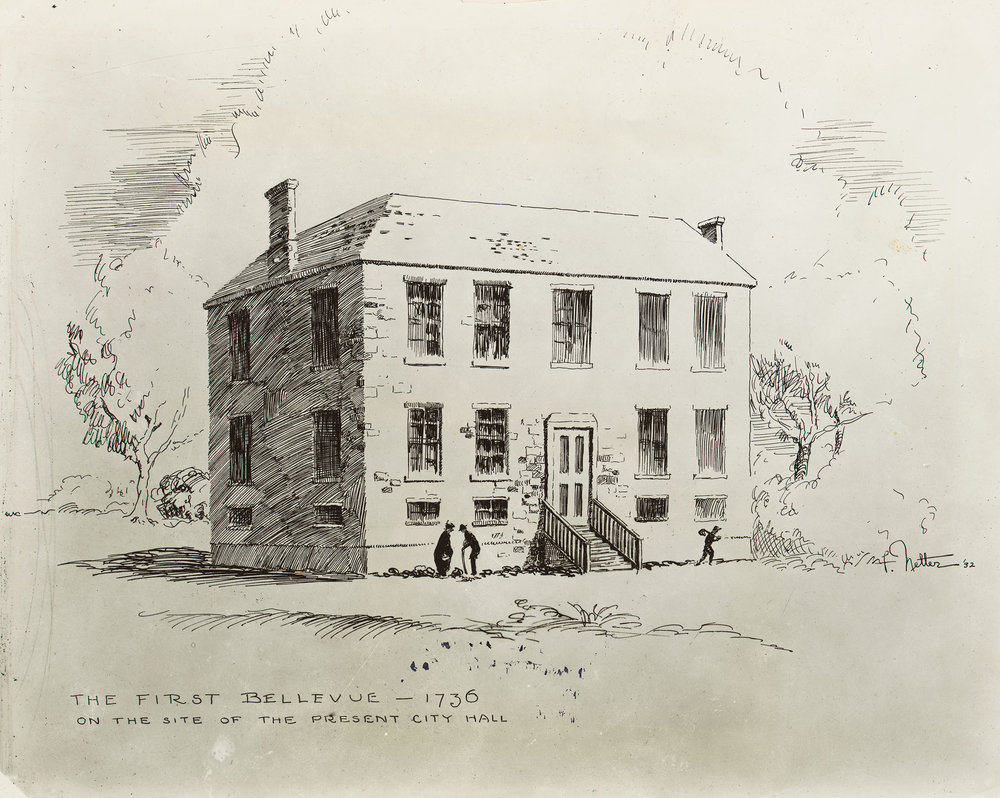 The first Bellevue, a 6-bed infirmary on the present site of City Hall. Department of Public Charities Collection, NYC Municipal Archives.