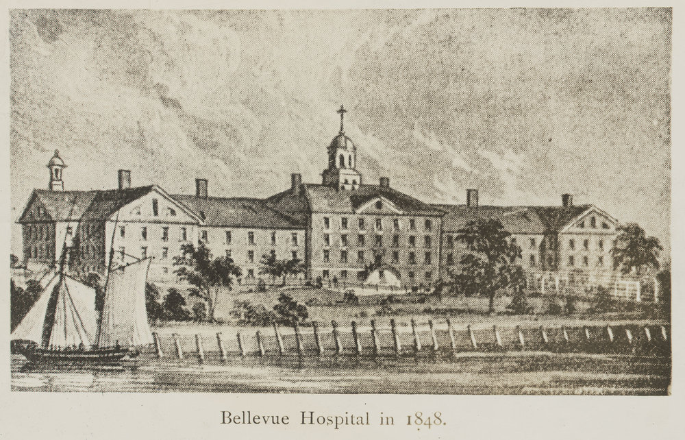 "View of the ""Old Bellevue Establishment"" from the East River. Department of Public Charities Collection, NYC Municipal Archives."