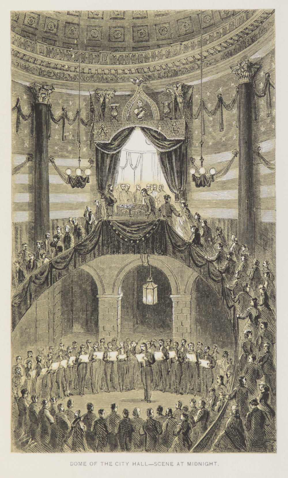 Lincoln's body lay in an open casket in the City Hall rotunda overnight and was seen by over 100,000 New Yorkers. On the 25th, after a funeral procession up Broadway, his body departed by train for Springfield, Illinois.  The Obsequies of Abraham Lincoln , NYC Municipal Library.