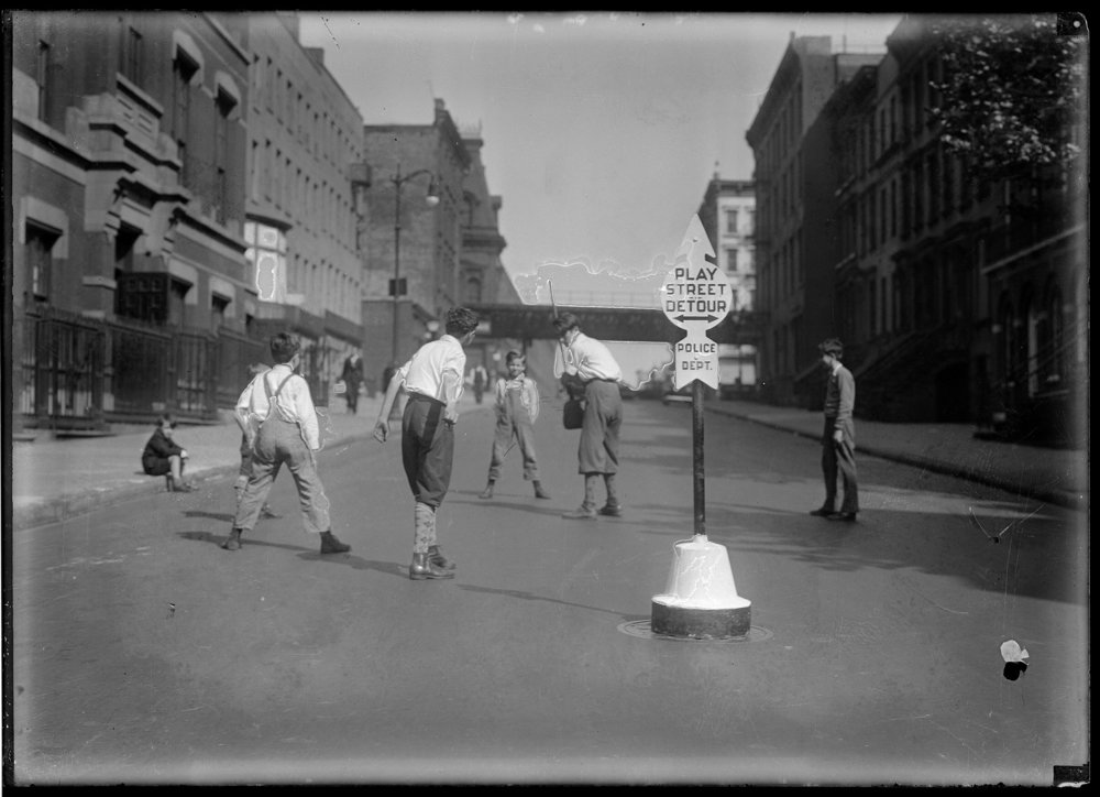 Play Street, boys playing stickball, ca. 1916. NYPD Collection, NYC Municipal Archives.