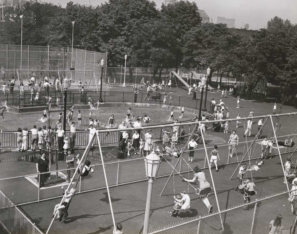 Typical Playground - Wading Pool, unknown location, 1960. Mayor Robert F. Wagner Collection, NYC Municipal Archives.