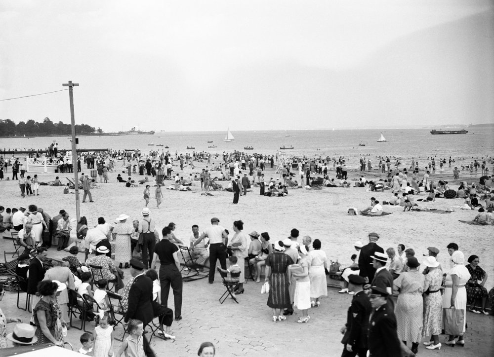 Opening ceremonies at Orchard Beach, beach scene, July 25, 1936. Department of Parks & Recreation Collection, NYC Municipal Archives.