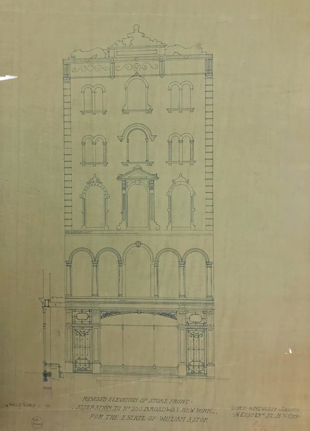 Revised Elevation of Storefront, Alteration to No. 550 Broadway, for the Estate of William Astor. Lord & Hewlett, Architects. Department of Buildings Collection, NYC Municipal Archives.