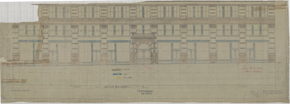 American Lithograph Co. Building, Elevation on 19th Street, 1895. Richard Berger Architect. Department of Buildings Collection, NYC Municipal Archives.