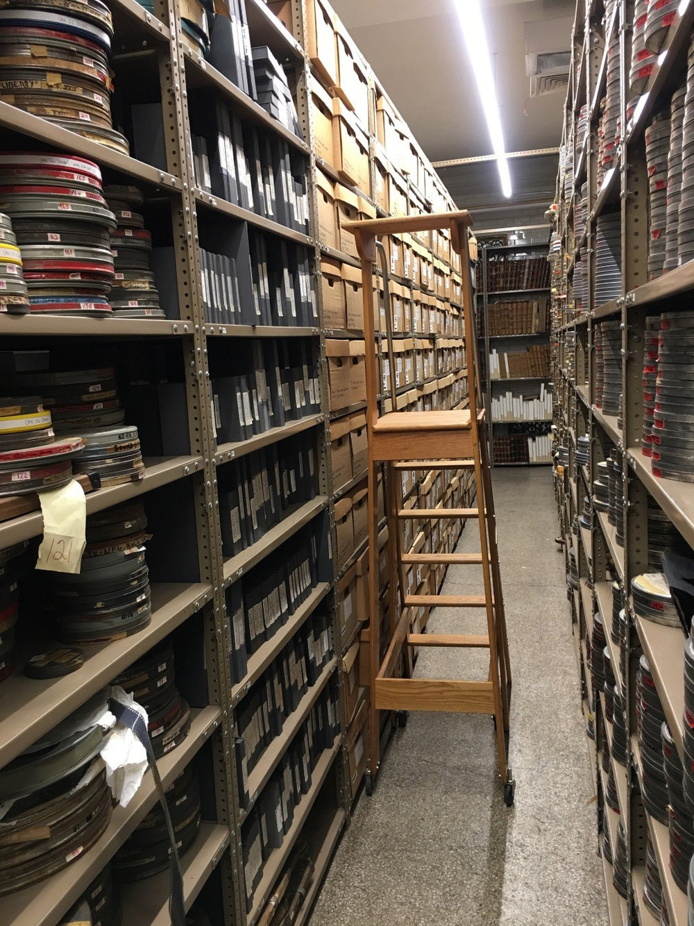 The audio-visual collection on the shelves of the NYC Municipal Archives.