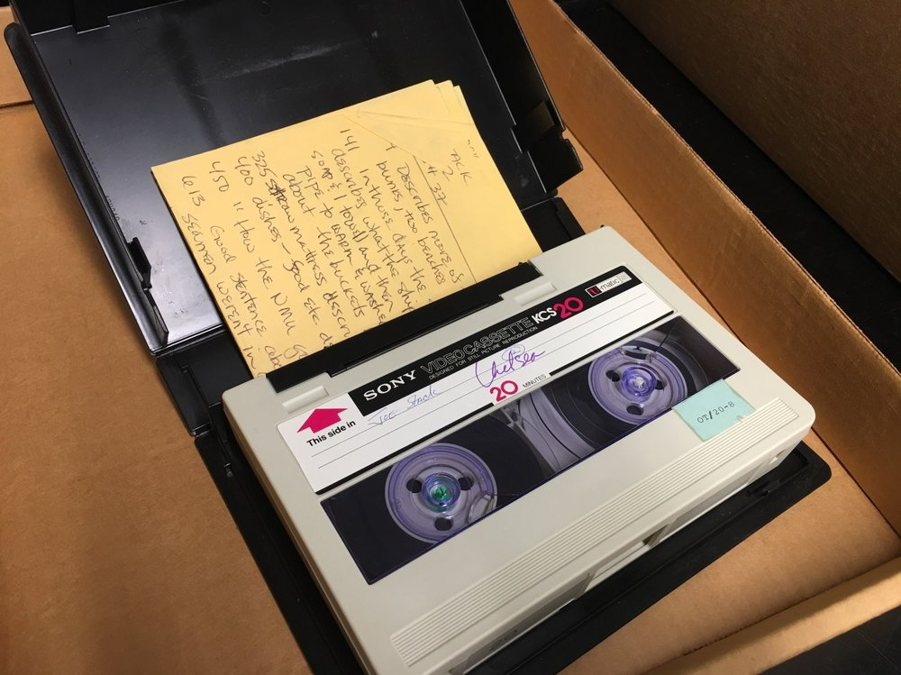 "A ¾"" U-matic tape about to be digitized."