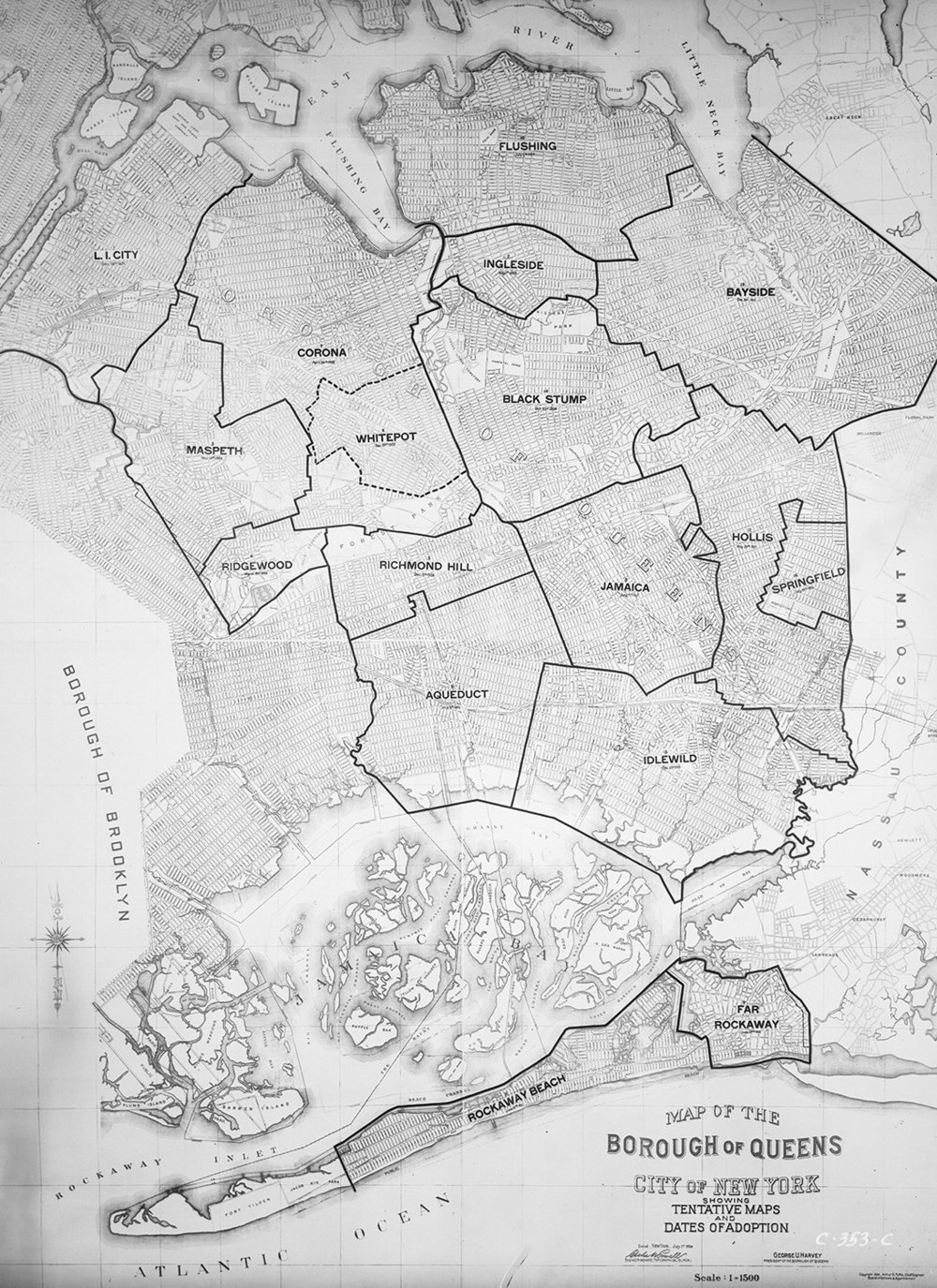 Map of Queens, 1924. Borough President Queens Collection, NYC Municipal Archives.
