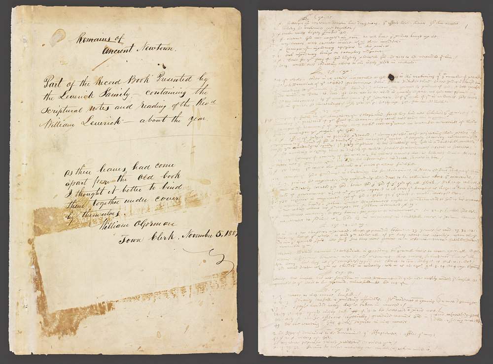 First pages of William Leverich's notes. Newtown Records, NYC Municipal Archives.