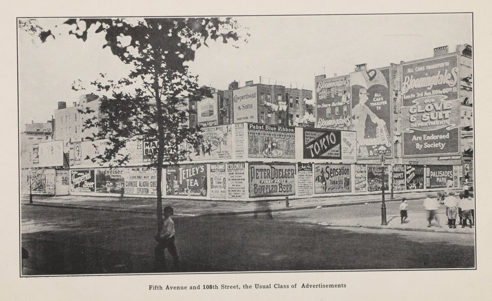"""Typical Conditions, from """"A Report on An Investigation on Billboard Advertising in the City of New York, Office of The Commissioner of Accounts,"""" Raymond Fosdick, 1914. Departmental Correspondence of Mayor Mitchel."""