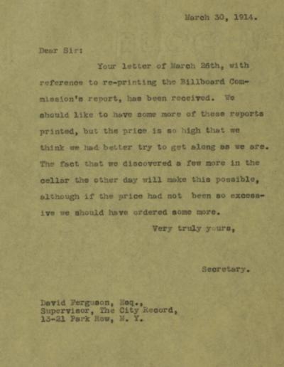 Letter from Mayor's Secretary, Arthur Woods, to David Ferguson, Supervisor of the City Records, March 26, 1914. Departmental Correspondence of Mayor Mitchel, 1914.