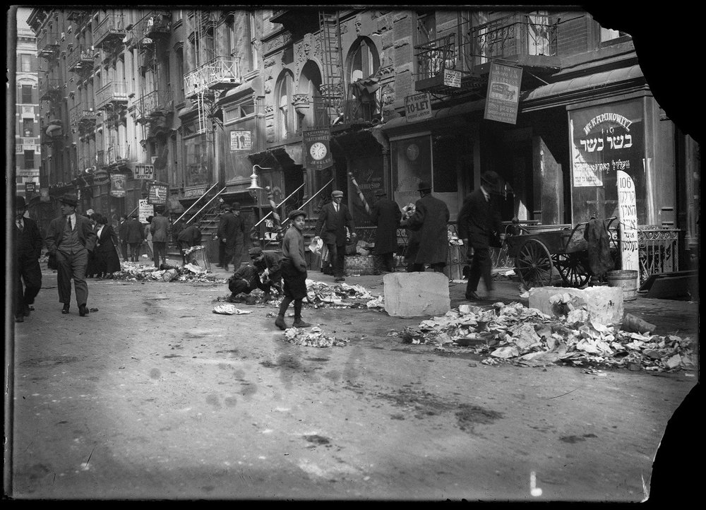 Street Scene, Lower East Side Manhattan, Department of Sanitation, glass neg. no. 693, ca. 1900