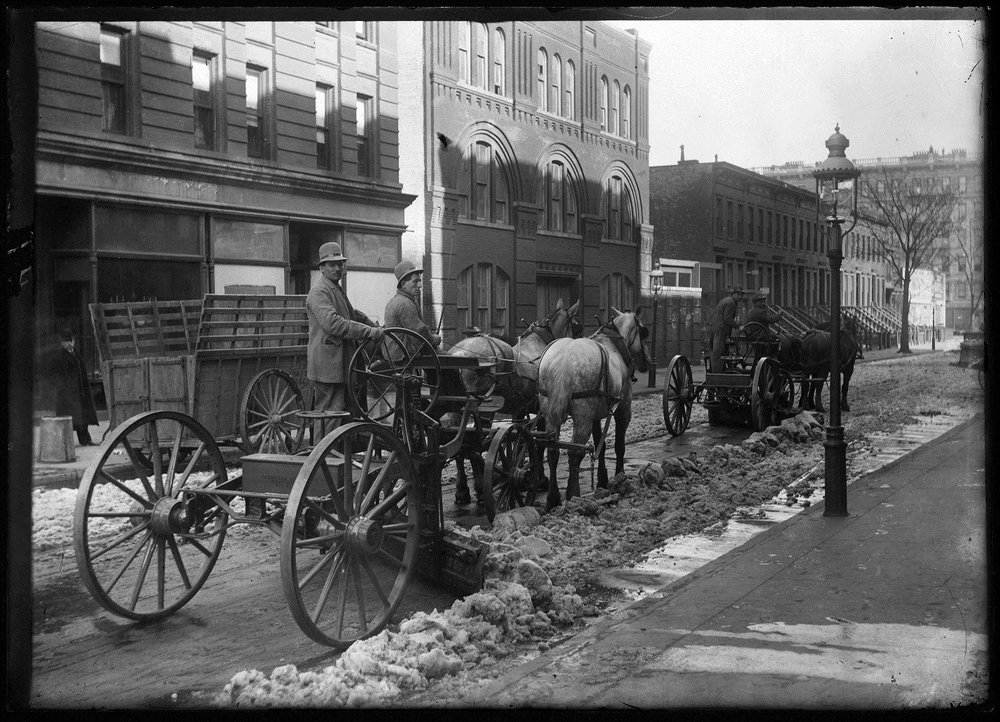 Snow Removal, Department of Sanitation glass negative no. 600, ca. 1900