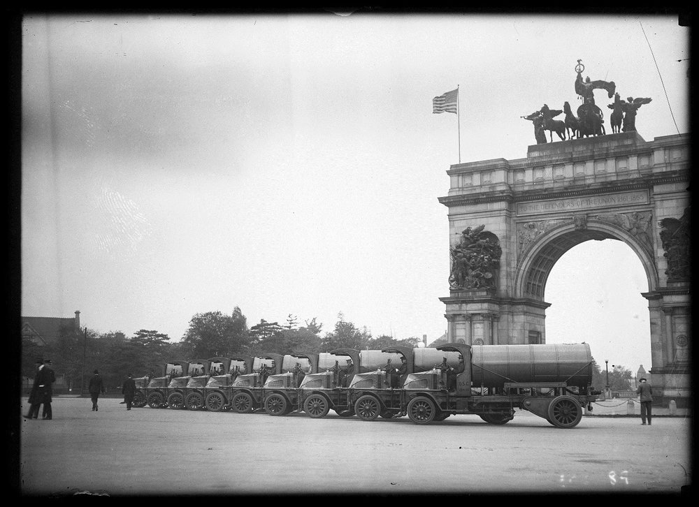 Sanitation Equipment at Grand Army Plaza, Brooklyn, Department of Sanitation glass negative no. 363, n.d