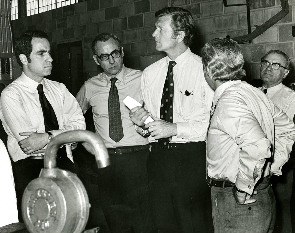 Mayor John V. Lindsay at a DOS facility, ca. 1970.