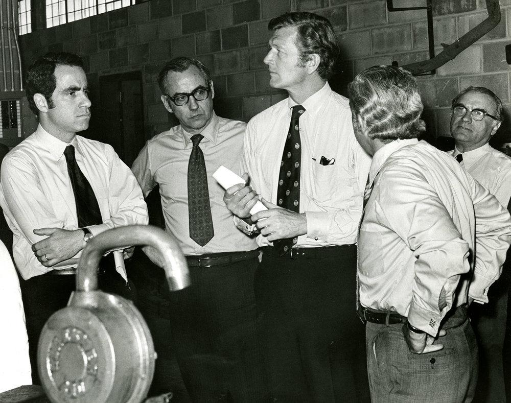Mayor John V. Lindsay at a DOS facility, ca. 1970.