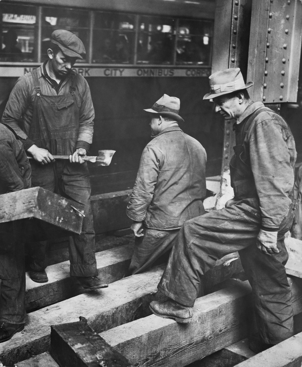 Subway excavation workers. Date: 1941. Photographer: Andrew Herman. WPA-FWP Collection, NYC Municipal Archives.