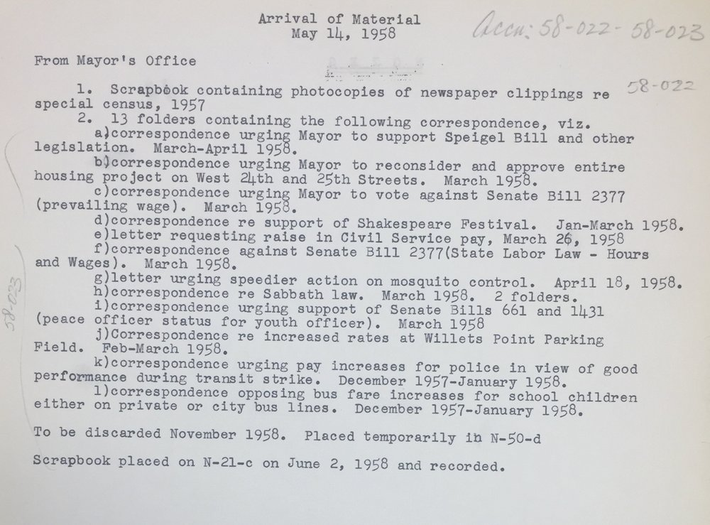 This typed inventory of materials received from the Mayor's Office on May 14, 1958, provides an example of an intriguing and specific list of correspondence and a scrapbook, but with outdated location information. Considerable time would be spent confirming the existence of and current location of these items.