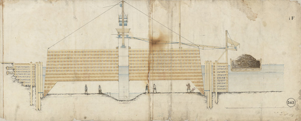 Brooklyn Bridge Drawing #656: Caisson in Position, Brooklyn Side, September 28, 1869. Washington A. Roebling. NYC Municipal Archives.