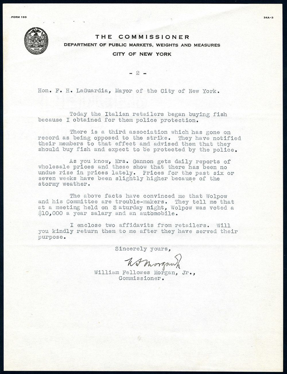 Letter to Mayor LaGuardia from William Fellowes Morgan, Jr., Commissioner of the Department of Public Markets, Weights and Measures, Oct. 16, 1934. Mayor LaGuardia Collection, NYC Municipal Archives.