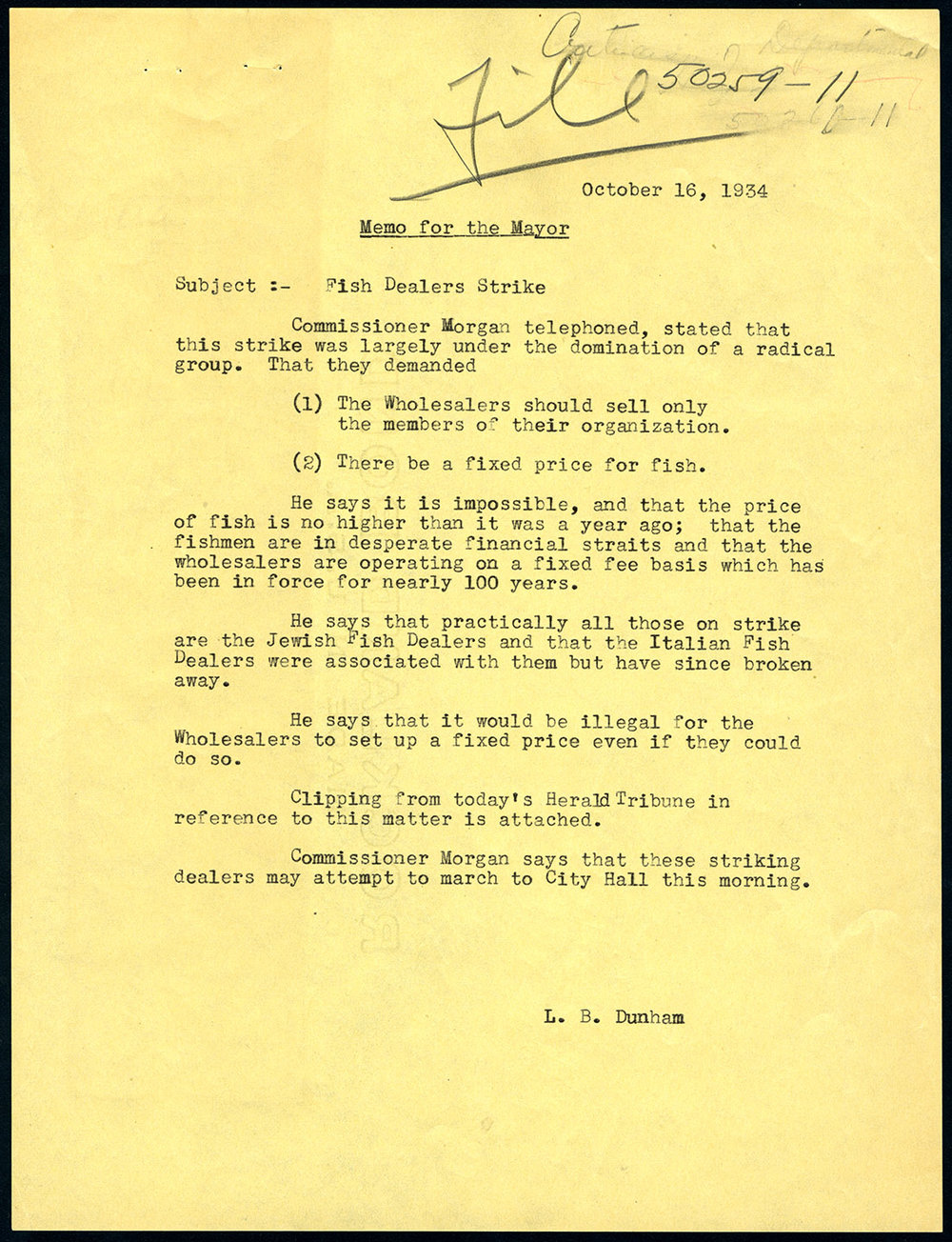Memo to Mayor LaGuardia from secretary L.B. Dunham, Oct. 16, 1934. Mayor LaGuardia Collection, NYC Municipal Archives.