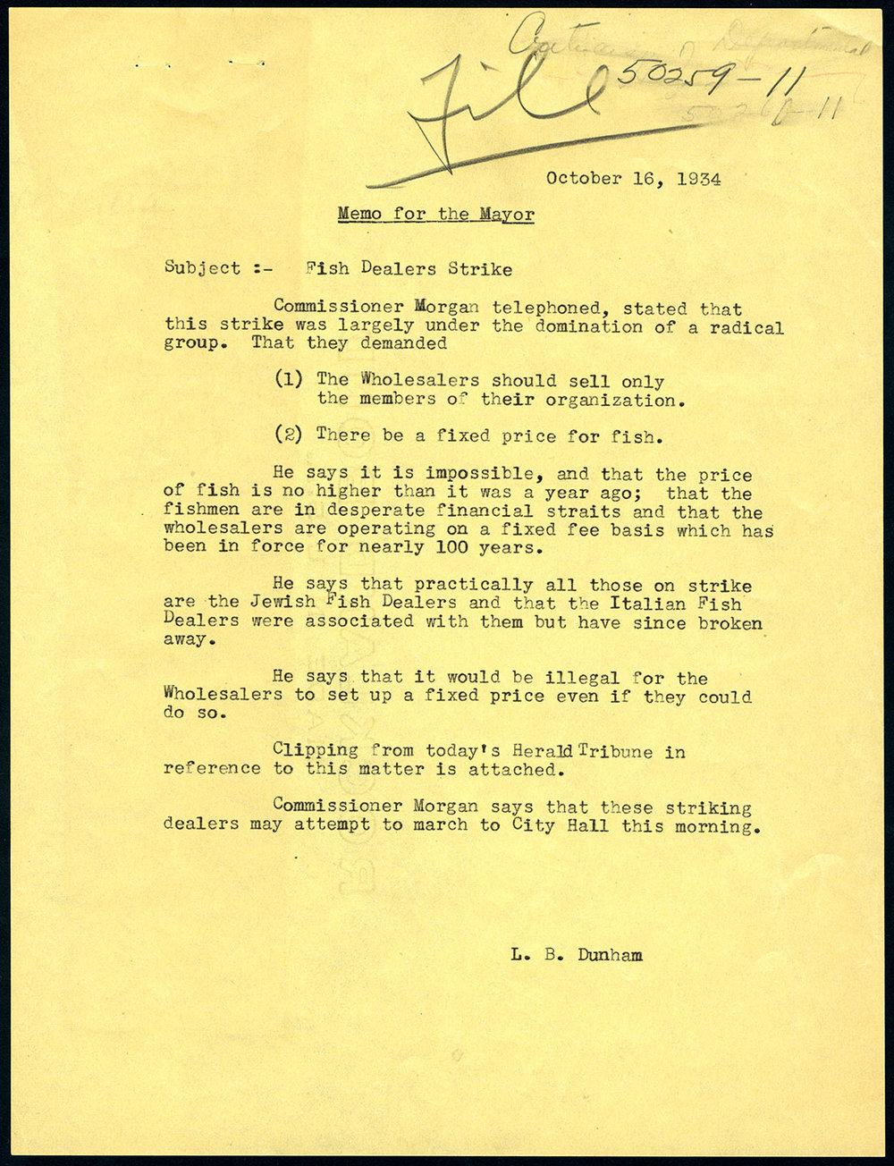 Memo to Mayor LaGuardia from secretary L.B. Dunham, Oct. 16, 1934. Mayor LaGuardia Collection, NYC Municipal Archives.