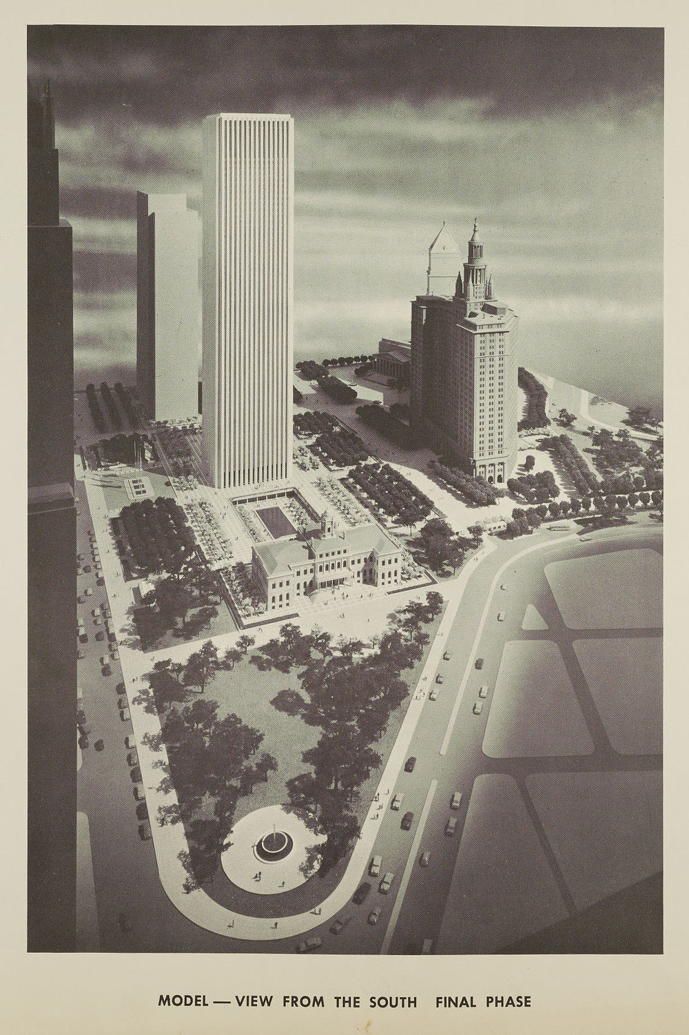 Final phase of the Civic Center Plan, with the removal of the Surrogate's Court Building at 31 Chambers Street. NYC Municipal Archives.
