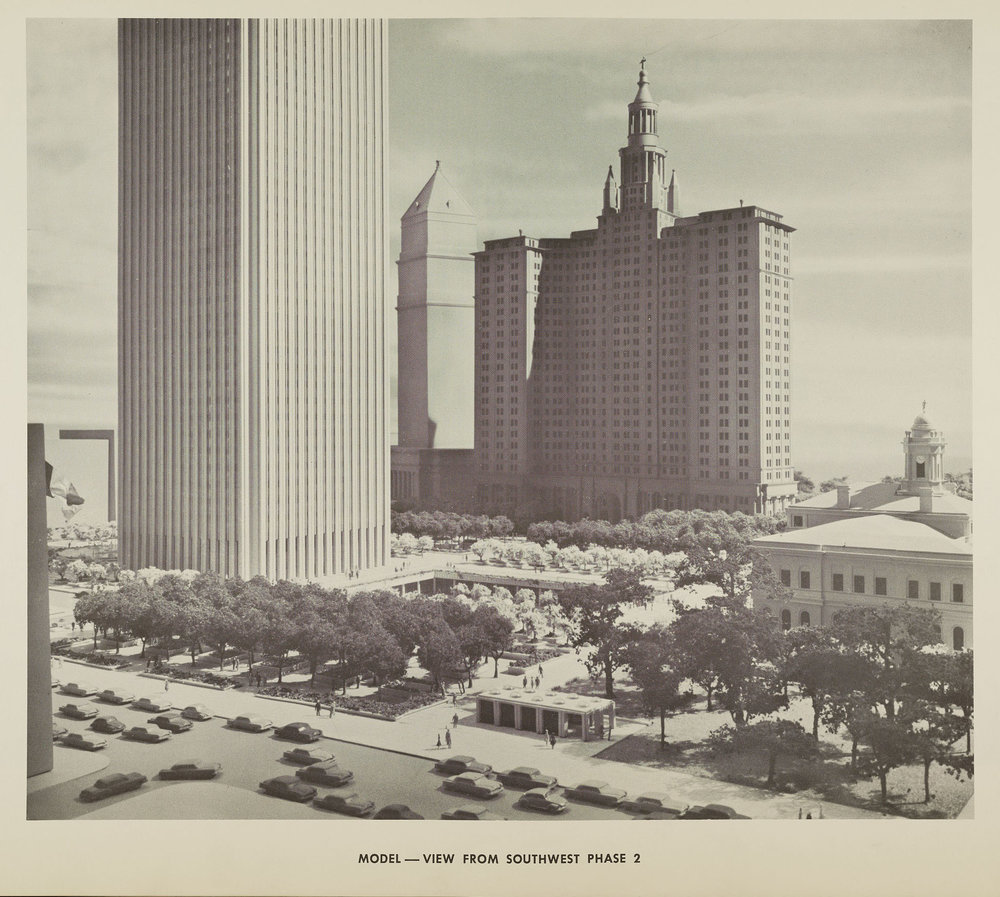 New York Civic Center plan, showing view of the sunken plaza behind City Hall. NYC Municipal Archives.