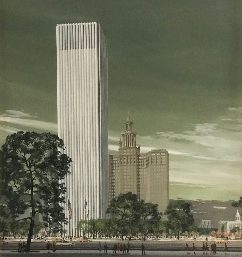 New York Civic Center plan, 1964. NYC Municipal Archives.