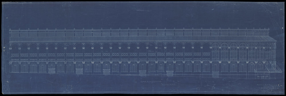 "Design blueprint for a stadium for the ""Brooklyn Baseball Club, Charles H. Ebbets, Pres."" Clarence R. Van Buskirk, Architect, ca. 1912. NYC Municipal Archives."