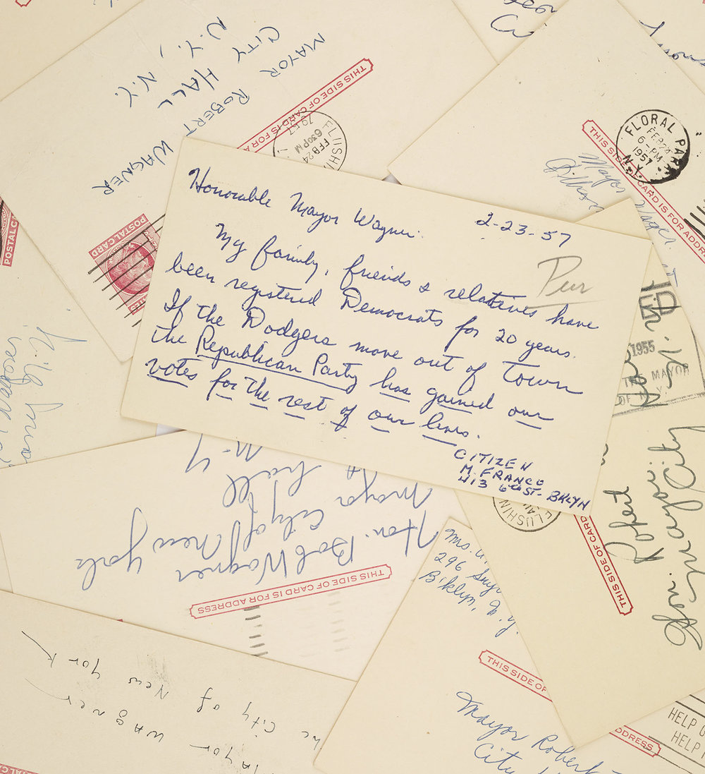 Postcards for and against the Dodgers. Mayor Wagner Papers, NYC Municipal Archives.