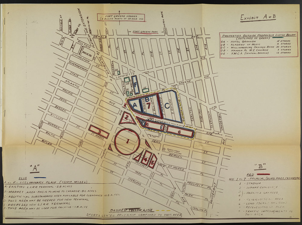Proposed site for new stadium designed by Buckminster Fuller. Mayor Wagner Papers, NYC Municipal Archives.