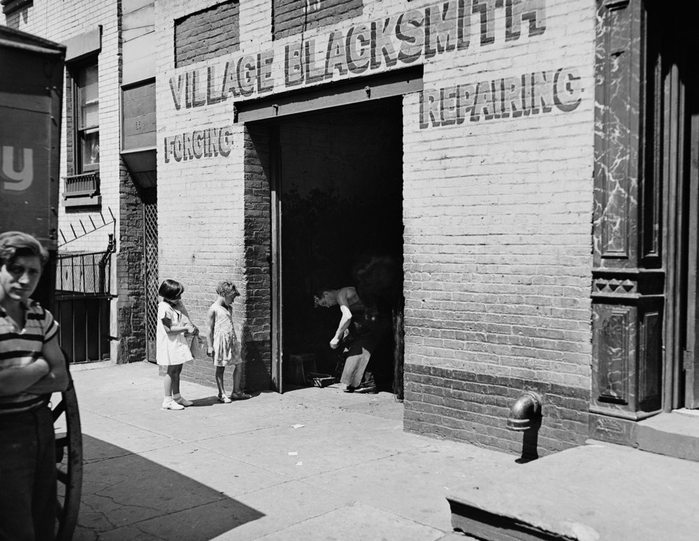 Greenwich Village Blacksmith, 33 Cornelia Street, August 3, 1937. Photograph by E.M. Bofinger, WPA Federal Writers' Project collection, NYC Municipal Archives.